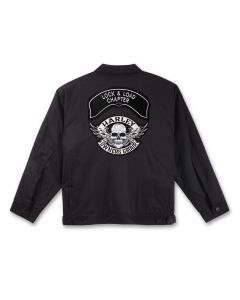 Black Twill Jacket with Winged Skull Patch and Chapter Name Patch