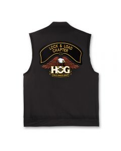 Black Denim Vest with H.O.G. Logo and Chapter Name Patch