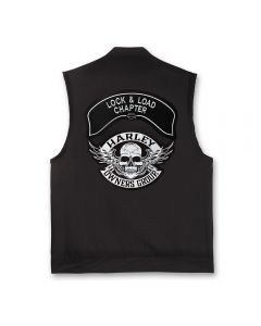Black Denim Vest with Winged Skull Patch and Chapter Name Patch
