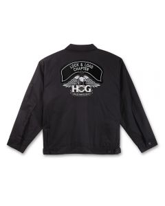 Black Twill Jacket with Silver H.O.G. Logo and Chapter Name Patch
