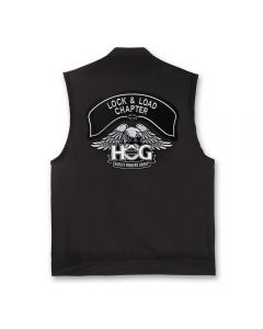Black Denim Vest with Silver H.O.G. Logo and Chapter Name Patch