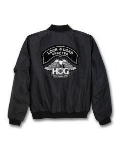 Black Chapter Name Aviator Jacket with Silver H.O.G. Eagle Logo